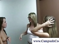 Stunning college babes seducing boys in the dorm