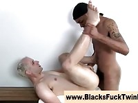 A blonde guy in interracial