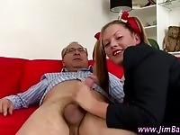 A fat ass schoolgirl doing an old guy