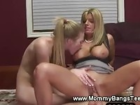 Mom and daughter riding same cock