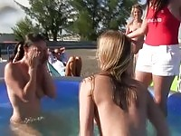 Nude lesbians in pool fight