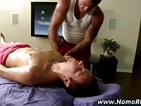 Nude dude getting massage
