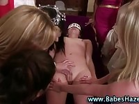 A sweet teen in group lesbian action