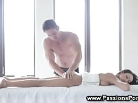 A sexy brunette in massage and ice action