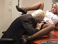 Hot blonde gets licked by old guy