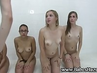 Sweet teens in group bath
