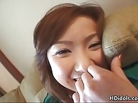 Horny Yui Kazuki giving footjob after getting fingered