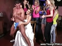 Pretty teen bride gagging along her teen friends