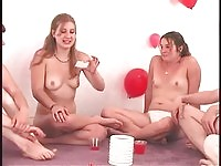 Pretty teens in truth or dare naked party