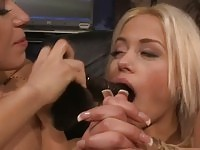 Charming babe tied and forced to suck a dildo