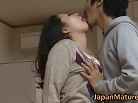 Hot japanese mature Ayane Asakura gets her big boobs licked