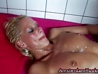 Drilled prostitute getting her boobs jizzed