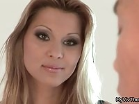 Gorgeous blonde babe seduces repair guy to fuck