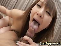 Sexy asian doll Anna Mizukawa fingered and sucking on two cocks