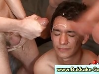 Anal plowed gay receiving multiple cum facials