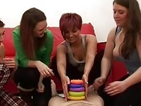 Cfnm bombshells plays cock ring toss before blowjob