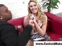 Blonde bitch makes her cuckold guy wears chastity belt