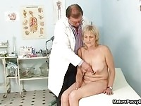 A blonde granny check up