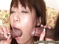 Slutty Japanese babe gets ass banged and toyed