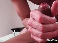 Amateur hunk rubbing his cock on gays dick