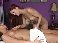 Hot masseuse sucks her clients pussy for enjoyment