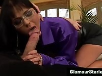 Horny secretary likes it hard and in her mouth