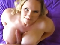 Bbw uses her huge tits to tug his hard dick