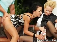 Glamorous blonde and brunette honeys fucked