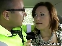 A sexy mature babe and police officer