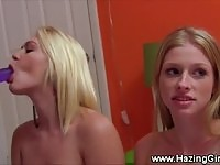 Cool and sassy teens humiliated with strapon dildo