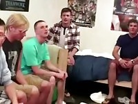 Straight male students taunted to gag cock
