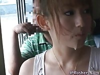 Stunning Japanese babe jizzed while riding a ferryboat