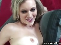 Gorgeous blonde is so eager trying anal sex