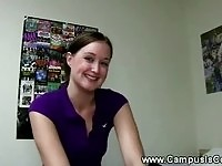 Seductive college teen screwed by a lucky guy
