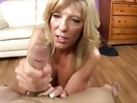 Cock starving cougar mom tugging a young stud