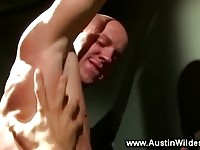 Toned and muscled jock getting ass rimmed by gay
