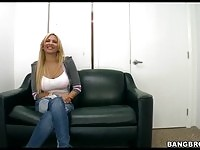 Charming blonde babe in her porn interview