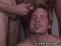 Handsome straight dude in multiple cum facials