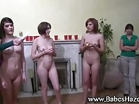 Nude teens in group action