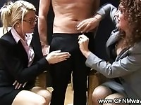 Corporate women wanking together