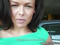 European beauty getting cash to suck in public