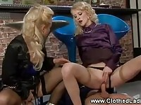 Sexy blonde babes fuckin in a bar