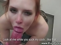 Shy redhead Ginger sucks dong in public