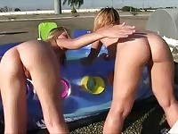 Horny nude lesbians on roof action