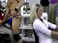 Hungry office babes sucking and fucking cock