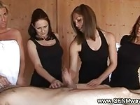 CFNM sluts tugs lucky cock in the sauna