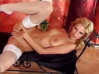 A tall blonde stripping and fingering
