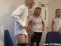 Clothed office sluts put him to the test