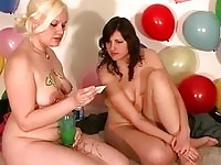Seductive teens drawing pussy eating and gagging during party