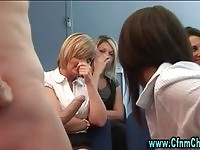 Cfnm chicks watch on a slut suck man meat at work